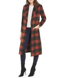 Leith Single Button Plaid Coat