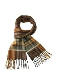 Dahlia Winter Wool Blend Scarf Brown Stripes Plaid Brown
