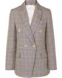 Brunello Cucinelli Double Breasted Checked Linen Blazer
