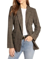 Treasure & Bond Plaid Double Breasted Blazer
