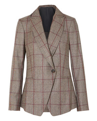 Brunello Cucinelli Sequin Embellished Prince Of Wales Checked Wool Blazer