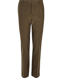 Brown check wool blend slim fit pants medium 402317