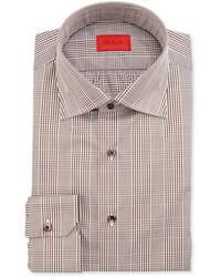 Isaia Glen Plaid Cotton Shirt Brown