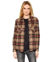 Plaid cotton wool blend shirt medium 179469
