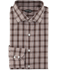 Plaid grid print shirt whitebrown medium 592059