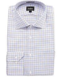 Neiman Marcus Regular Finish Classic Fit Dotted Plaid Dress Shirt Brown
