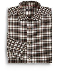 Corneliani Regular Fit Plaid Check Cotton Dress Shirt