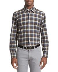 Brown Plaid Flannel Long Sleeve Shirt