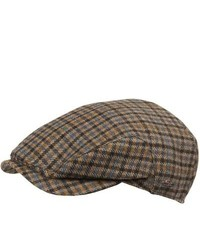 Wigens District Check Cap Lambswool Greybrown
