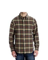 Options Country Twill Plaid Shirt Long Sleeve Brown