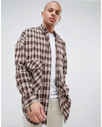 ASOS DESIGN Oversized Longline Check Shirt With Drop Shoulder In Brown