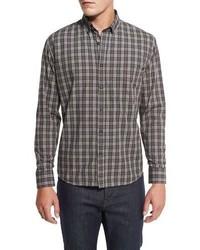 Plaid cotton sport shirt grayrust medium 1246425
