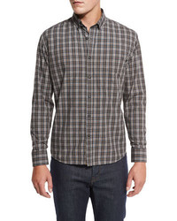 Plaid cotton sport shirt grayrust medium 962344