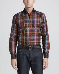 Plaid paisley sport shirt brown medium 27329