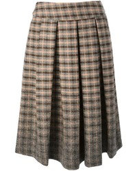 Brown Plaid Midi Skirt