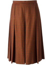 Givenchy Vintage Check Pleated Midi Skirt