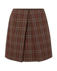 MM6 MAISON MARGIELA Pleated Checked Woven Mini Skirt