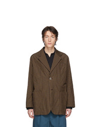 Solid Homme Brown And Burgundy Plaid Blazer
