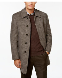 Lauren Ralph Lauren Jake Brown And Tan Plaid Overcoat