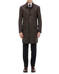 Plaid layered topcoat brown medium 386953