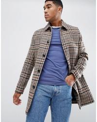 ASOS DESIGN Wool Mix Overcoat In Brown Check