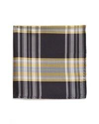 Original Penguin Baltic Plaid Silk Pocket Square Navy One Size