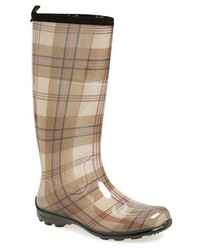 Brown Plaid Rain Boots