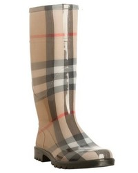 Burberry Beige Nova Check Rubber House Check Rain Boots