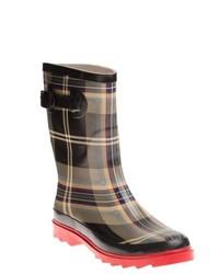 Henry ferrera black and red plaid printed rain boots medium 146597