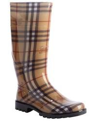 Burberry Nova Check Print Rubber Lug Sole Rain Boots