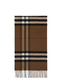Burberry Brown Cashmere Classic Check Scarf