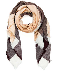 Brown white plaid scarf medium 6860328