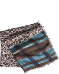 Plaid border leopard scarf medium 379649