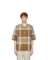 Lemaire Brown Cotton And Linen Short Sleeve Shirt