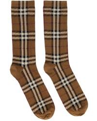 Burberry Brown Intarsia Check Socks
