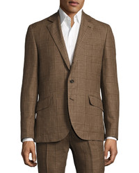 Brunello Cucinelli Plaid Slim Fit Two Piece Wool Blend Suit Brown