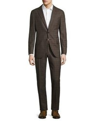 Isaia Raised Boucle Plaid Wool Suit