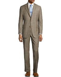 Hickey Freeman Two Tone Plaid Two Piece Suit Brownblue