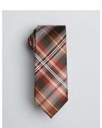 Red yellow and brown silk phillipe shaded plaid tie medium 19968