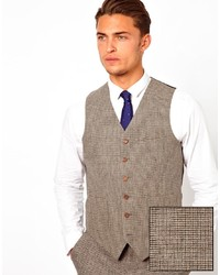 Asos Slim Fit Vest In Brown Dogstooth