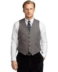 Blue with brown checks vest medium 33181