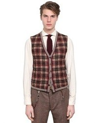 Lardini Plaid Wool Cashmere Blend Knit Vest