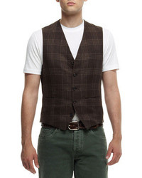 Brunello Cucinelli Linen Blend Plaid Waistcoat