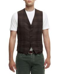 Brunello Cucinelli Linen Blend Plaid Waistcoat
