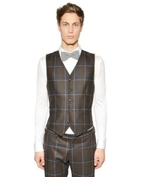 Tombolini Macro Plaid Wool Vest