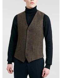 Topman Camel Checked Vest