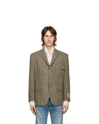 Gucci Brown And Grey Vintage Classic Check Blazer