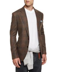 Brunello Cucinelli Plaid Two Button Flannel Sport Coat Brown