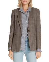 Frame Plaid Wool Blend Blazer