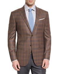 Ermenegildo Zegna Plaid Wool Two Button Sport Coat Cognac